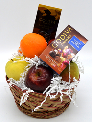 Small Round Fruit Basket with Godiva from Bob's Gift Baskets