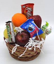 Small Round Fruit Basket with Snacks from Bob's Gift Baskets
