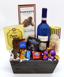Wine and Chocolate Wood Box from Bob's Gift Baskets